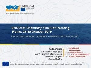 EMODnet Chemistry 4 kickoff meeting Rome 29 30