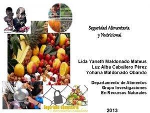 Seguridad Alimentaria y Nutricional Lida Yaneth Maldonado Mateus