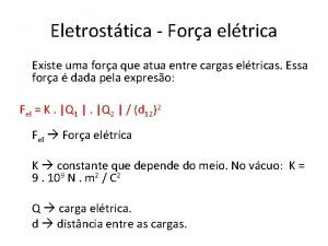 Eletrosttica Fora eltrica Existe uma fora que atua