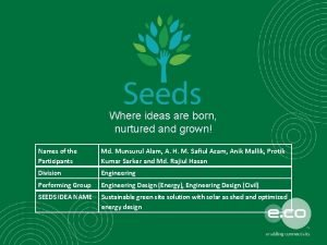 Where ideas are born nurtured and grown Names