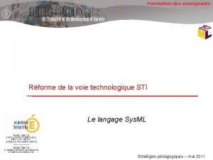 Formation des enseignants Rforme de la voie technologique
