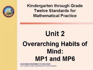 Kindergarten through Grade Twelve Standards for Mathematical Practice