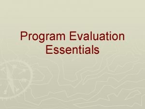Program Evaluation Essentials WHAT is Program Evaluation ThinkDrawPair