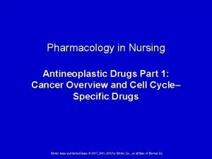 Pharmacology in Nursing Antineoplastic Drugs Part 1 Cancer