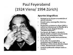 Paul Feyerabend 1924 Viena 1994 Zrich Apuntes biogrficos