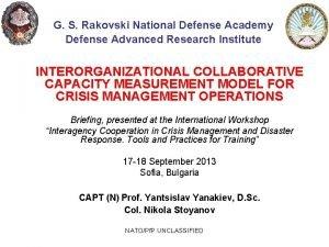 G S Rakovski National Defense Academy Defense Advanced