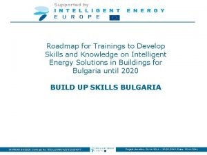 Roadmap for Trainings to Develop Skills and Knowledge