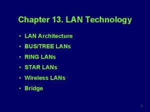 Chapter 13 LAN Technology LAN Architecture BUSTREE LANs