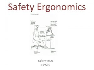Safety Ergonomics Safety 4000 UCMO Safety Ergonomics Outline