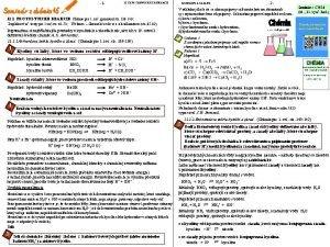 1 11 TYPY CHEMICKCH REAKCI 11 1 PROTOLYTICK