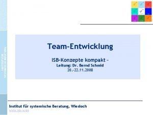 TeamEntwicklung ISBKonzepte kompakt Leitung Dr Bernd Schmid 20
