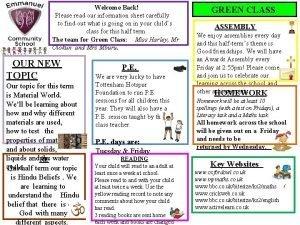 Welcome Back Please read our information sheet carefully