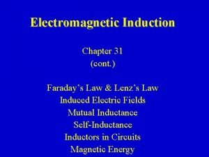 Electromagnetic Induction Chapter 31 cont Faradays Law Lenzs