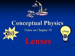 Conceptual Physics Notes on Chapter 30 Lenses Lenses