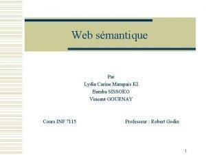Web smantique Par Lydia Carine Mampais KI Bamba