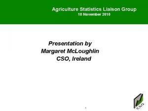 Agriculture Statistics Liaison Group 18 November 2010 Presentation