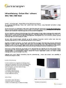 Infrarotheizung Deluxe Glas schwarz 300 500 800 Watt