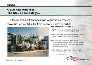 Claus Gas Analyser The Claus Technology is the