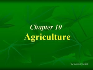 Chapter 10 Agriculture By Eugene Stanton Key Issues