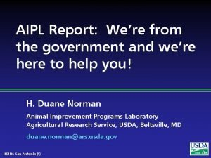 AIPL Report Were from the government and were