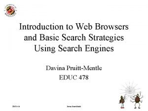 Introduction to Web Browsers and Basic Search Strategies