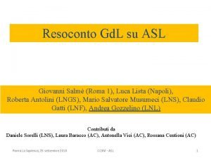 Resoconto Gd L su ASL Giovanni Salm Roma