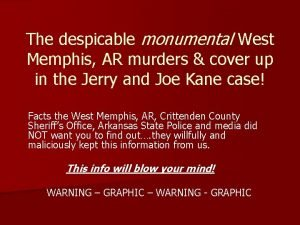 The despicable monumental West Memphis AR murders cover