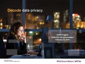 Decode data privacy GDPR Program RIMS DELVAL Presentation