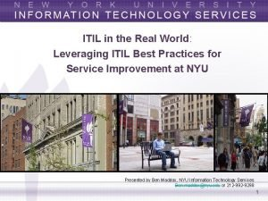 ITIL in the Real World Leveraging ITIL Best