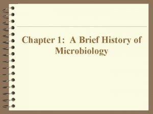 Chapter 1 A Brief History of Microbiology Microbiology