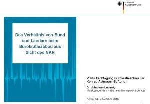 Das Verhltnis von Bund Lndern beim Brokratieabbau aus