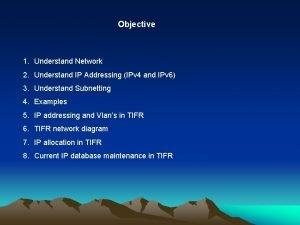 Objective 1 Understand Network 2 Understand IP Addressing