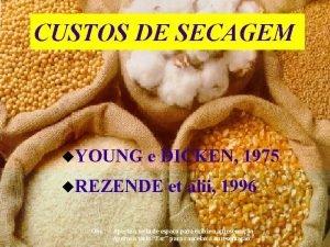 CUSTOS DE SECAGEM u YOUNG e DICKEN 1975