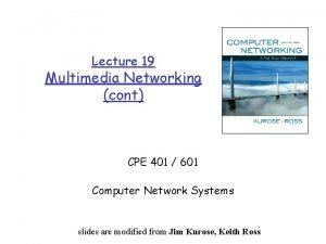 Lecture 19 Multimedia Networking cont CPE 401 601