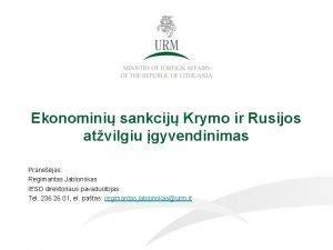 Ekonomini sankcij Krymo ir Rusijos atvilgiu gyvendinimas Pranejas