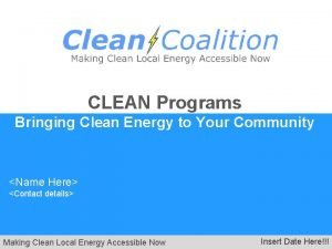 CLEAN Programs Bringing Clean Energy to Your Community