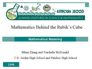 Mathematics Behind the Rubiks Cube Mathematical Modeling Bihan