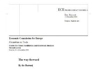 UN Economic Commission for Europe UN Economic Commission