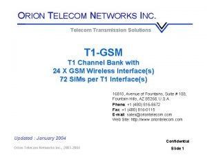 ORION TELECOM NETWORKS INC Telecom Transmission Solutions T