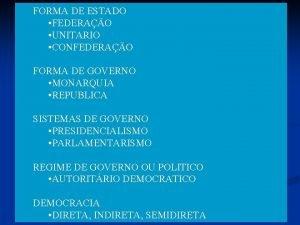 FORMA DE ESTADO FEDERAO UNITARIO CONFEDERAO FORMA DE