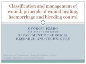 Classification and management of wound principle of wound