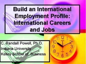 Build an International Employment Profile International Careers and