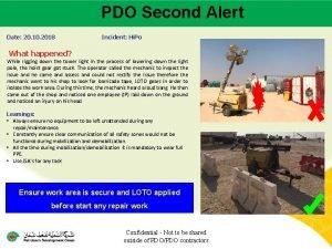 PDO Second Alert Main contractor name LTI Date
