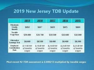 2019 New Jersey TDB Update 2019 2018 2017