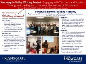 San Joaquin Valley Writing Project Engaging with Teachers