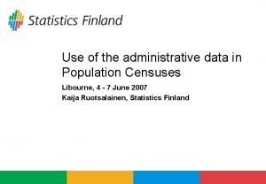 Use of the administrative data in Population Censuses