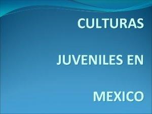 CULTURAS JUVENILES EN MEXICO QUE SON CULTURAS JUVENILES