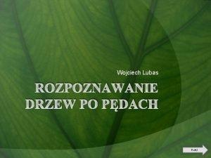 Wojciech Lubas ROZPOZNAWANIE DRZEW PO PDACH Dalej Spis