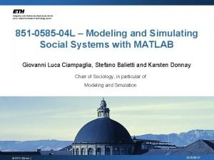 851 0585 04 L Modeling and Simulating Social