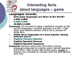 Interesting facts about languages game Languages records How